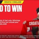 England 33/1 to beat Croatia, World Cup Semi Final