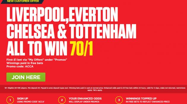 Liverpool, Everton, Chelsea & Tottenham all to win – 70/1